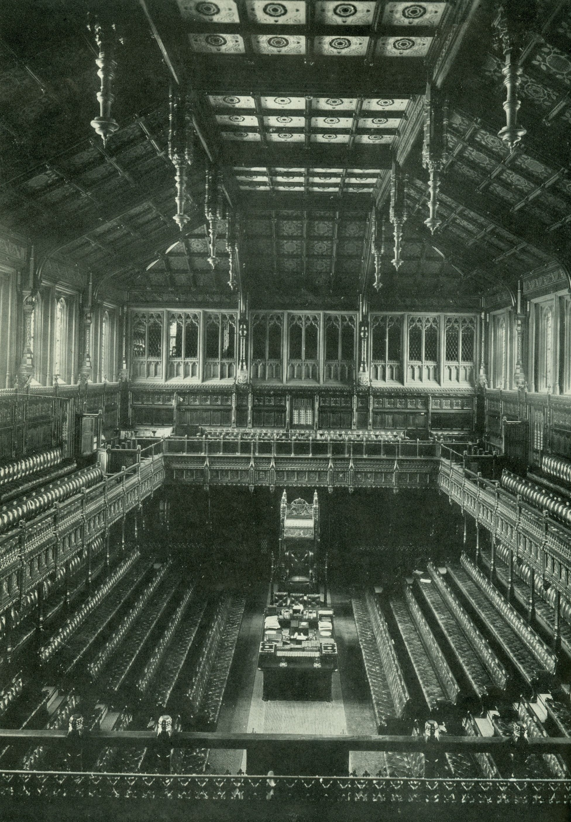 Houses Of Parliament Interior. The old British House of Commons interior  prior to its destruction by German bombing 1941 state banking house tony garnier Theory and Design in the First