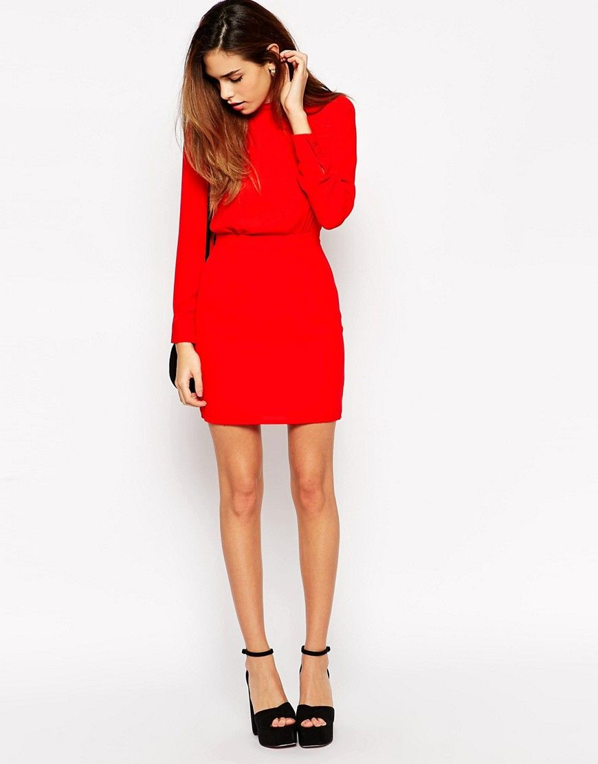 Mini Dress With High Neck By Asos Petite Red Petite Mini Dresses Dresses Asos Petite