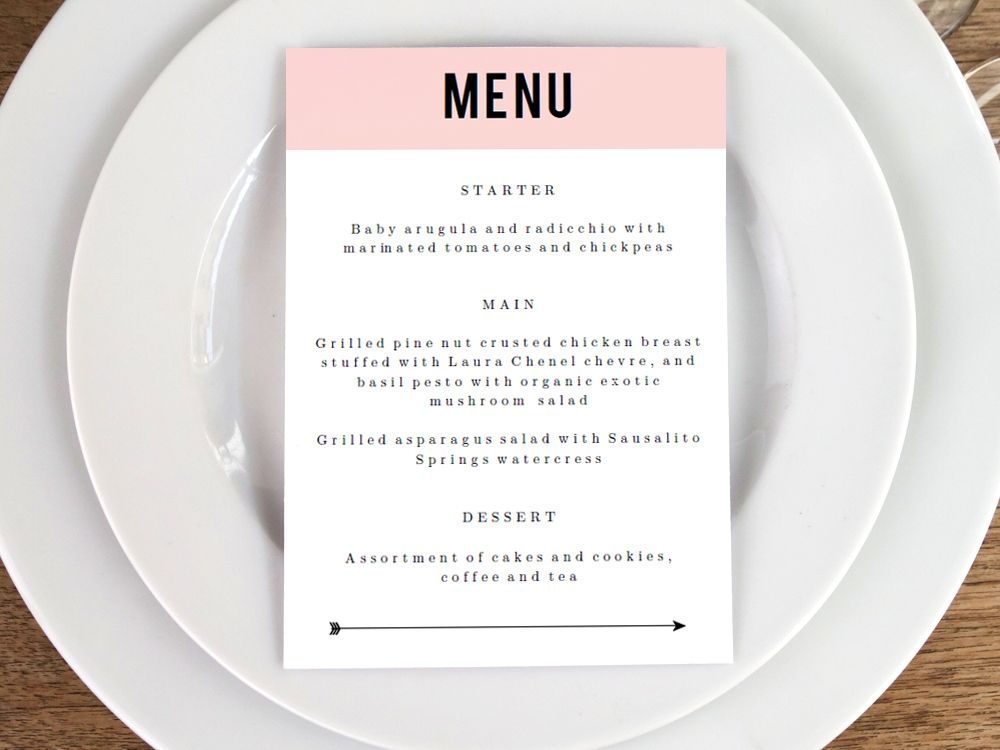 Printable Menu - Pink Block Menu card design, Printable menu and - formal dinner menu template