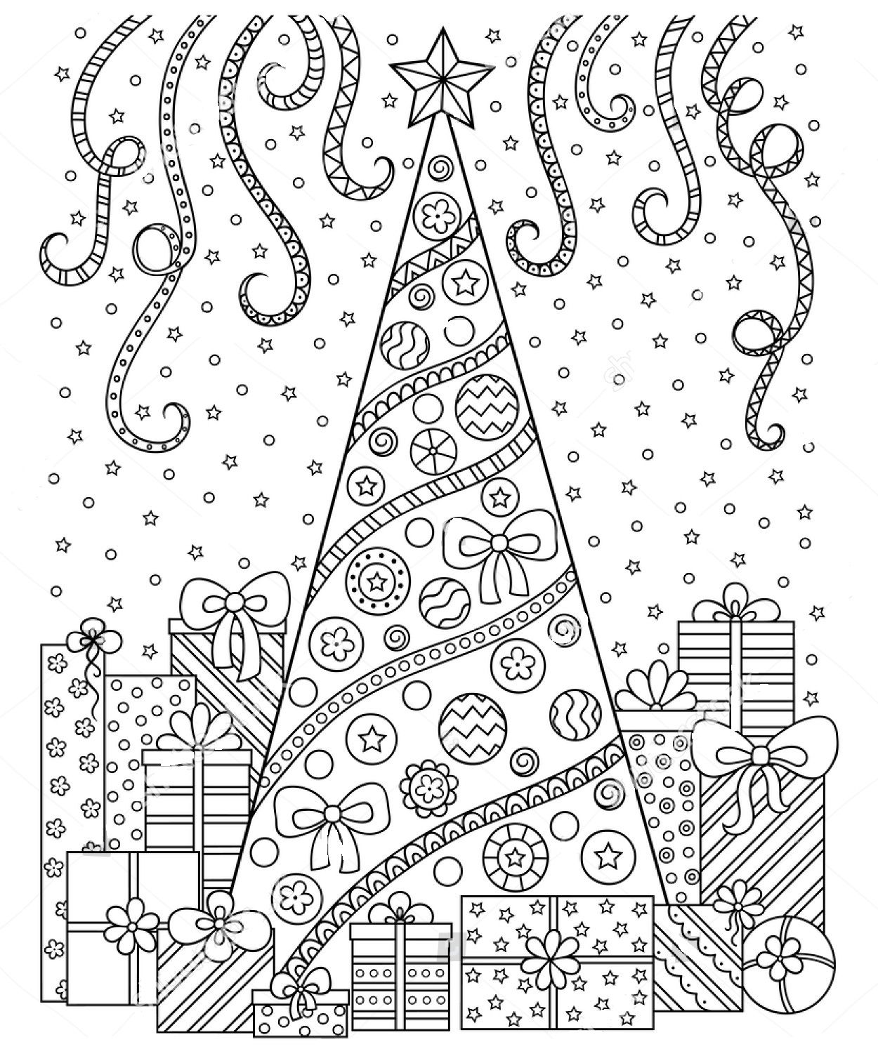 Christmas zentangle coloring page christmas coloring pages