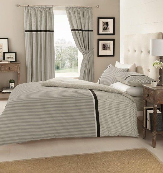 Valeria Grey Quilt Duvet Cover Set With, Queen Bedding And Matching Curtains