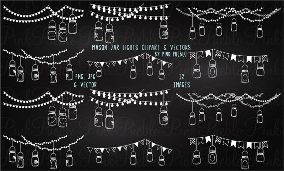 Our Chalkboard Mason Jar Lights Clipart Set Includes 12 PNG Files With Transparent Backgrounds JPG White And 1 Adobe