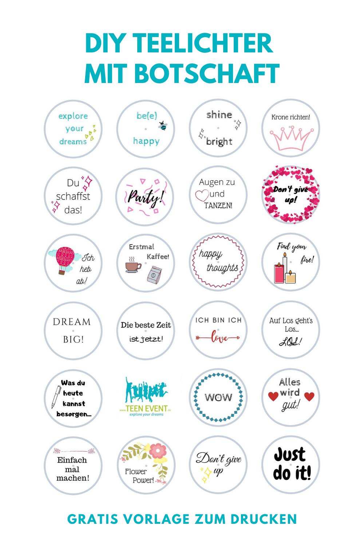 Diy Teelichter Mit Botschaft Gratis Vorlage Zum Drucken In 2020 Kleine Geschenke Diy Teelichter Geschenkideen Selbstgemacht