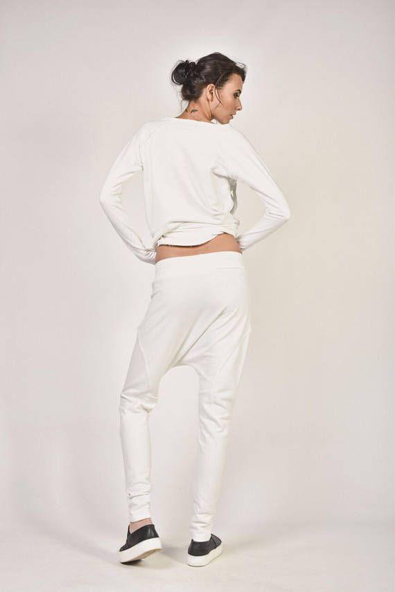 NUEVO suelto Casual de blanco gota harén pantalones