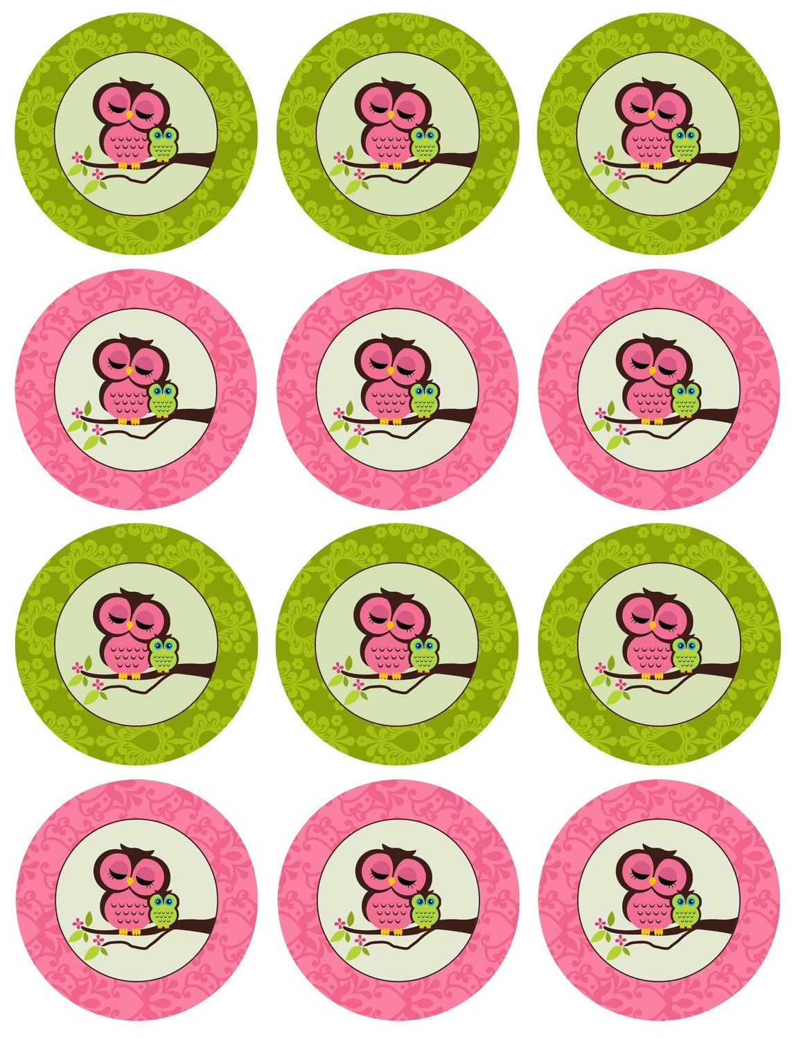 DIY Printable Owl Baby Shower Cupcake Toppers--Pink and Green. $10.00, via Etsy.