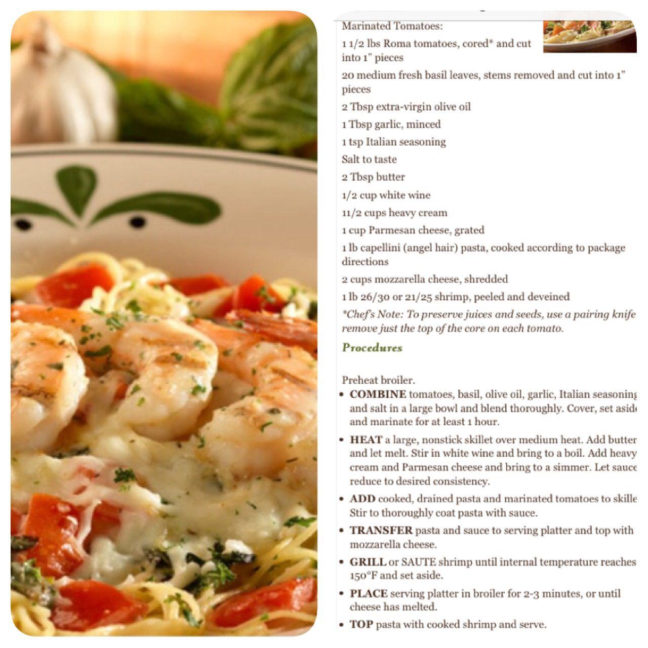 My favorite dish at Olive Garden..grilled shrimp caprese