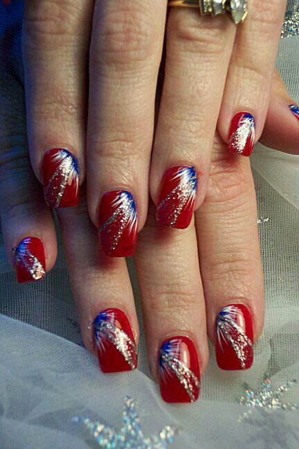 July 4th With Images Firework Nails Firework Nail Art Usa Nails