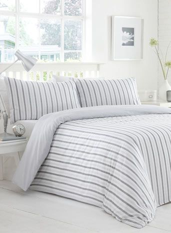Grey Herringbone Stripe Printed Bedding Set