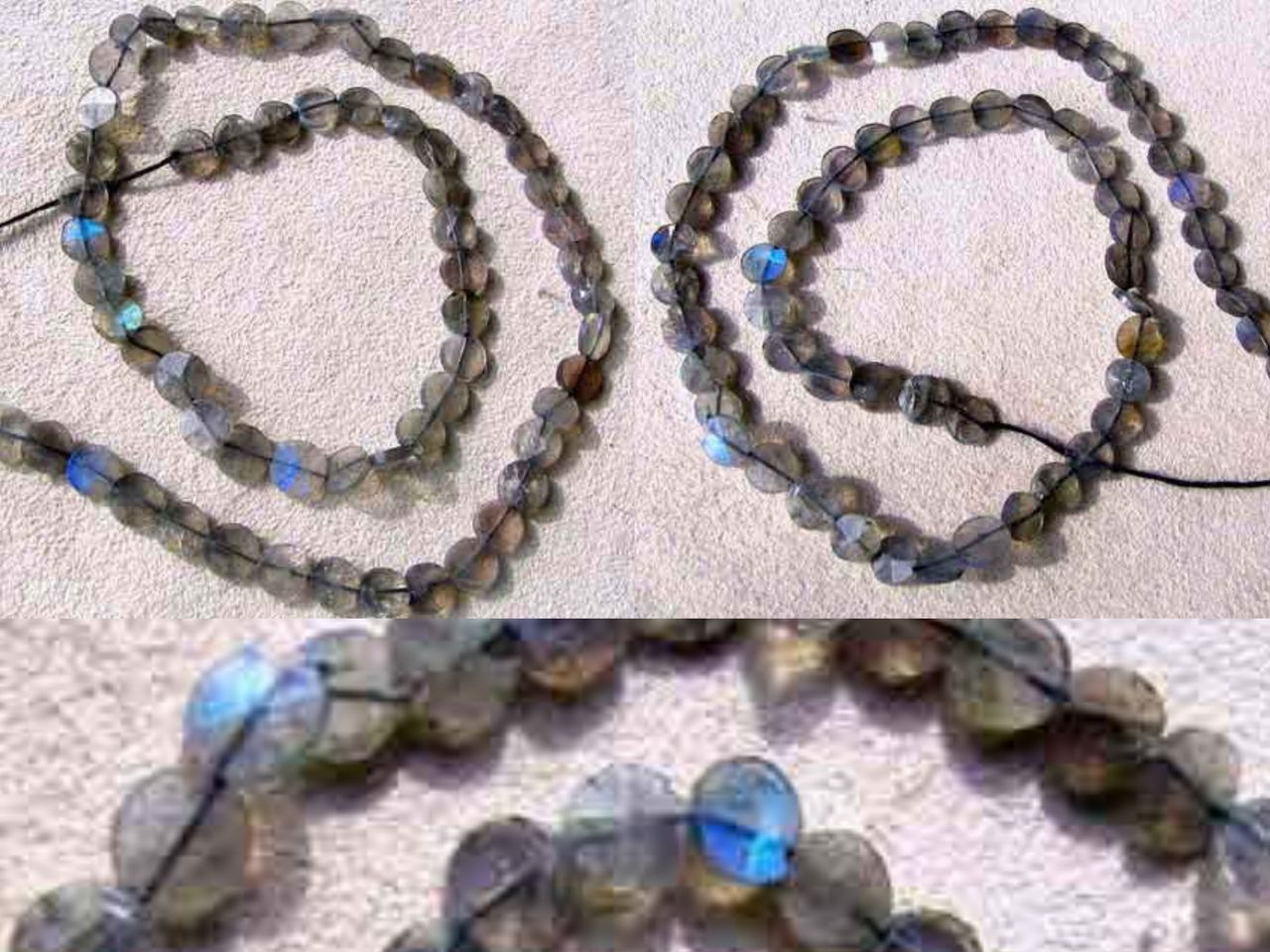Sample of Three LABRADORITE FLASH Faceted Coin BEADS 7499 - Premium Bead