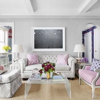 Awesome Pink And Gray Living Room, Contemporary, Living Room, House Beautiful