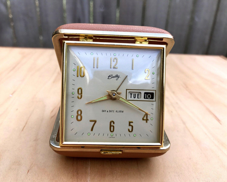 Vintage Travel Clock, Bradley Travel Clock, Tan Color