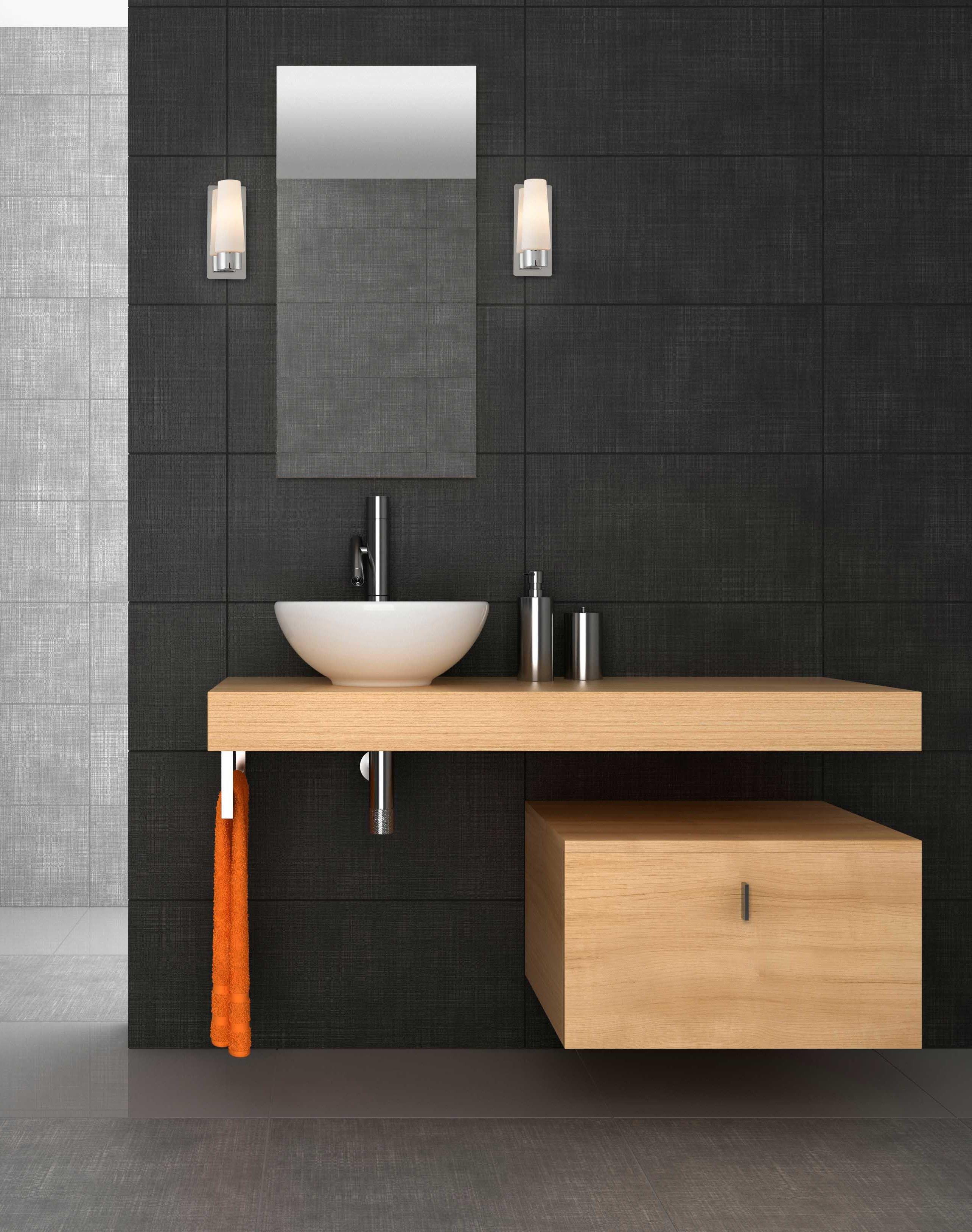 Meuble Vasque Et Miroir Eclaire Par Deux Appliques Pour Une Lumiere Precise Applique Salle De Bain Eclairage Salle De Bain Stickers Muraux