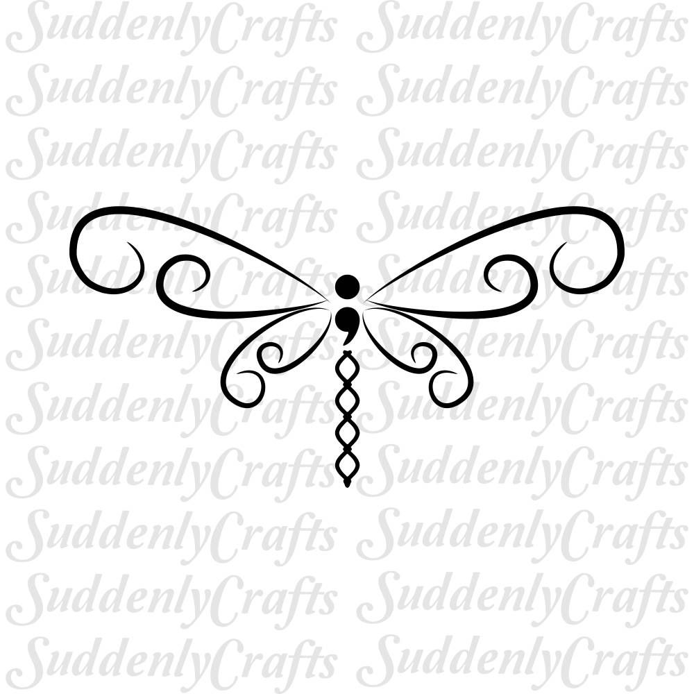 Semicolon Dragonfly Svg Suicide Awareness Memorial Png