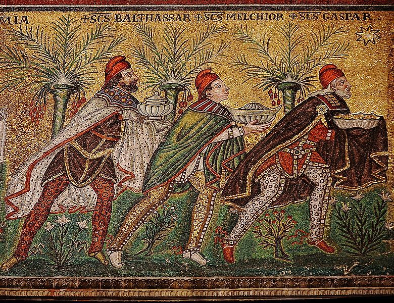""": Basilica of Sant'Apollinare Nuovo in Ravenna, Italy: The Three Wise Men"""" (named Balthasar, Melchior, and Gaspar). Detail from: """"Mary and Child, surrounded by angels"""", mosaic of a Ravennate italian-byzantine workshop, completed within 526 AD by the so-called """"Master of Sant'Apollinare""""."""