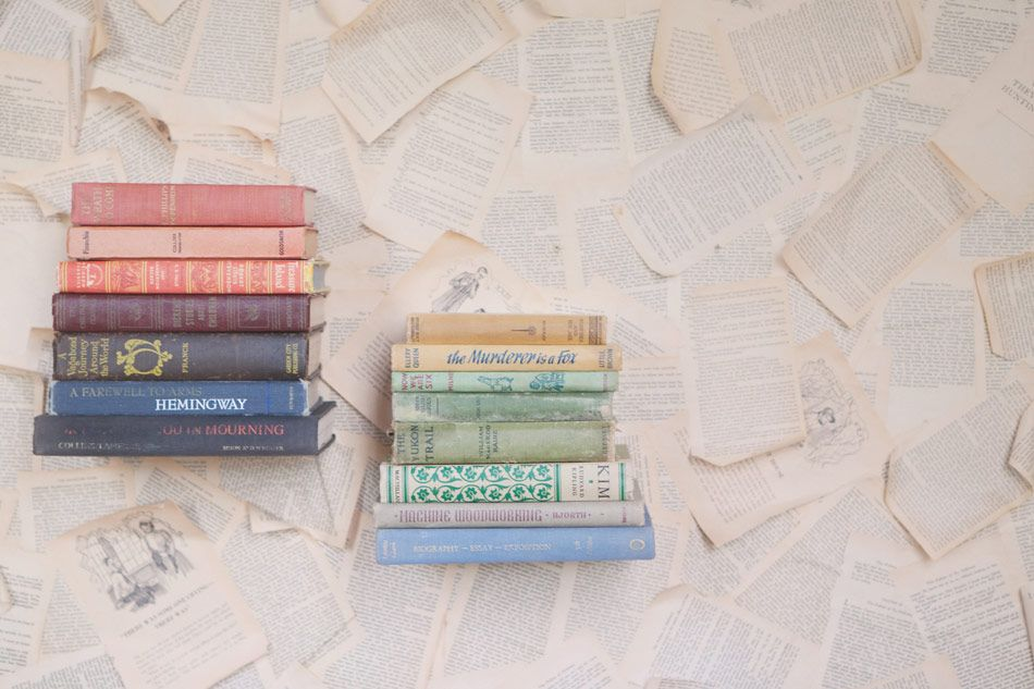 vintage books: One of my favorite things to find in thrift stores.  We love reading around here.
