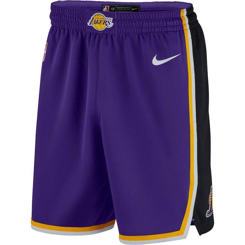 Los Angeles Lakers Nike 2018 19 Statement Edition Swingman Shorts Purple Performance Shorts Lakers Shorts Los Angeles Lakers