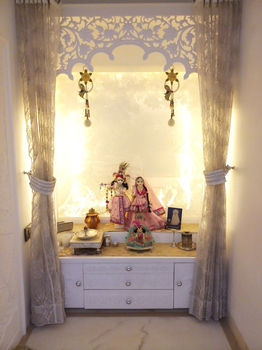 White prayer room with yellow back lighting urbanclaphomes