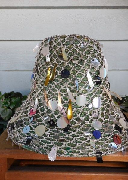Vintage 1960s Straw Beach Hat w Whimsical Spangles Made in Italy #Bucket