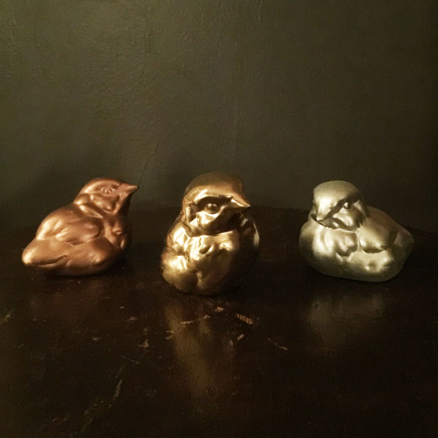"Bird Figurines - Painted with Montana Black Spray Paint in Gold, Copper and Silver Chrome 2 1/2"" x 2 1/2"" - One of a Kind Set"