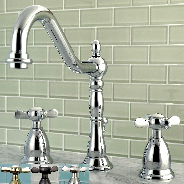 Victorian Cross Handles Widespread Bathroom Faucet Oil Rubbed