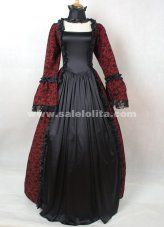 Dark Red and Black Cotton Printed Gothic Victorian Masquerade Ball Gown Costume For Halloween #masqueradeballgowns Dark Red and Black Cotton Printed Gothic Victorian Masquerade Ball Gown Costume For Halloween #masqueradeballgowns