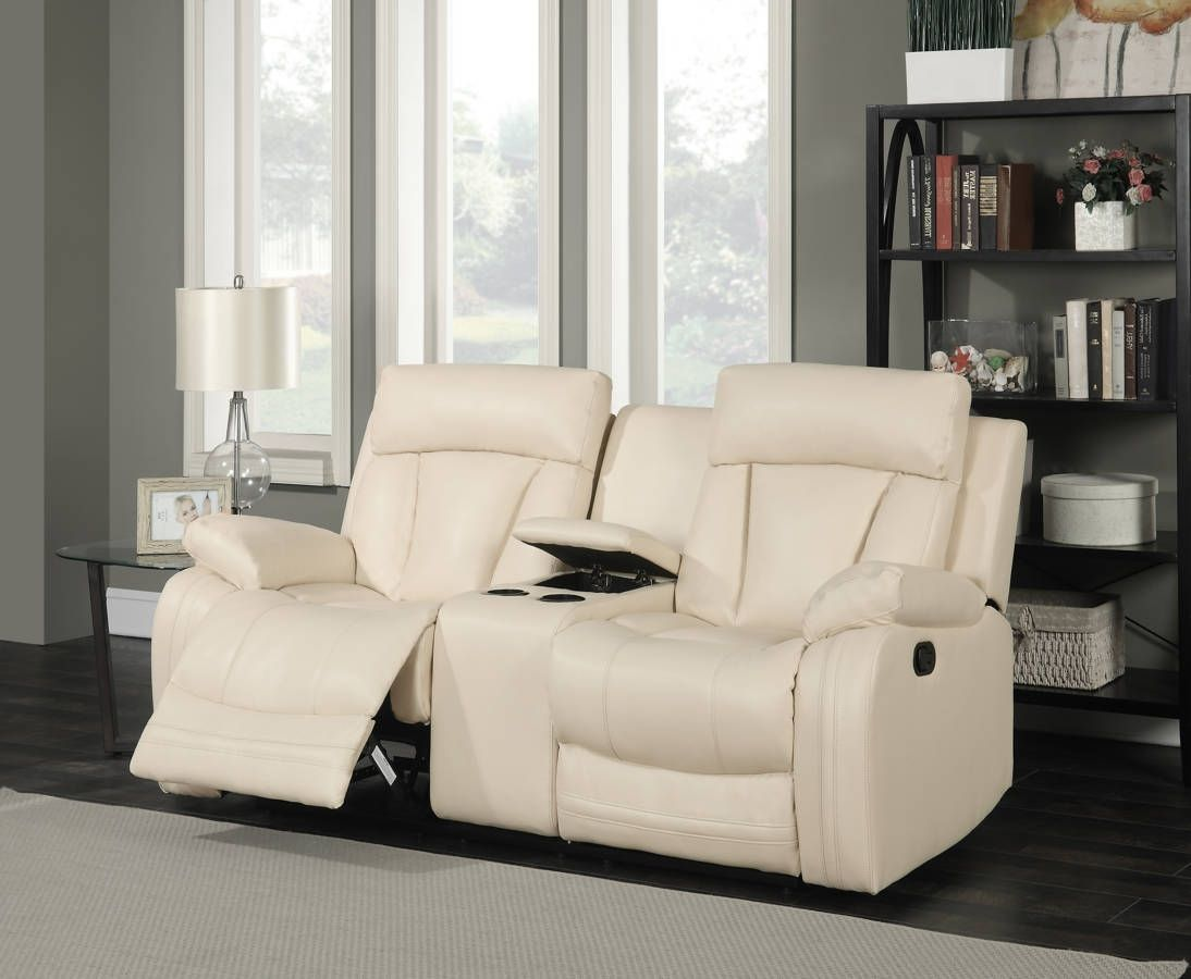 Avery Beige Top Quality Bonded Leather Removable Back Loveseat