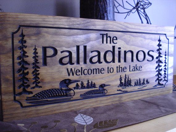Personalized wooden carved rustic wood sign for your ranch for Cabin signs wood
