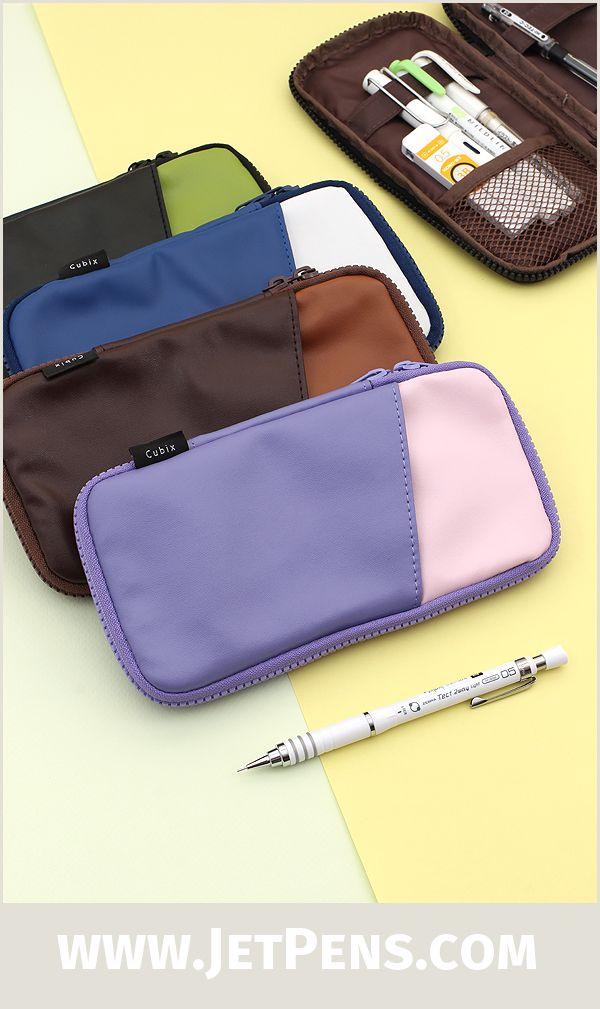 Cubix Round Zip Pen Case - Brown - CUBIX 106157-12-80