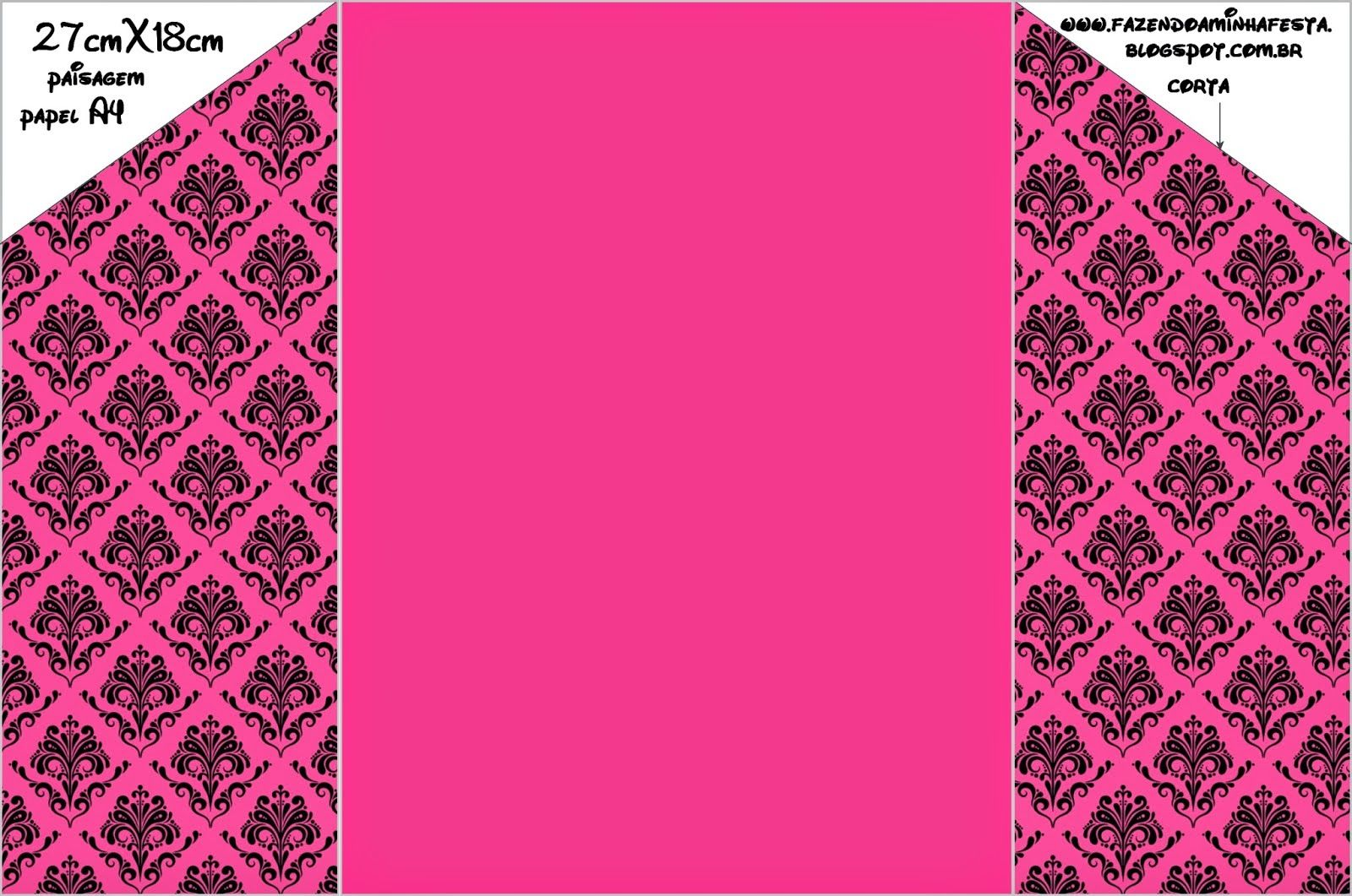 Damask Black In Fucsia Free Printable Party Invitations