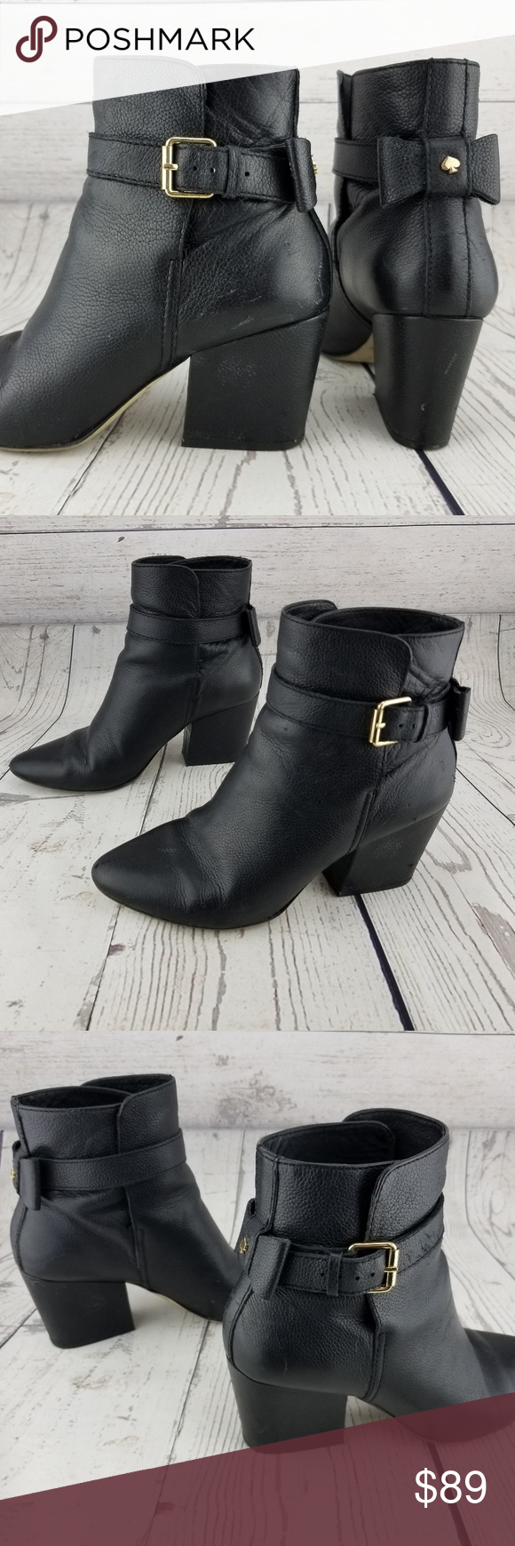 310caeb9a09b Kate Spade Brandi Boots Black Pebbled Leather Kate Spade New York  Brandi  Boots Black Pebbled Leather Booties Bow Detail on Heel Buckle Women s size   8.5 M ...