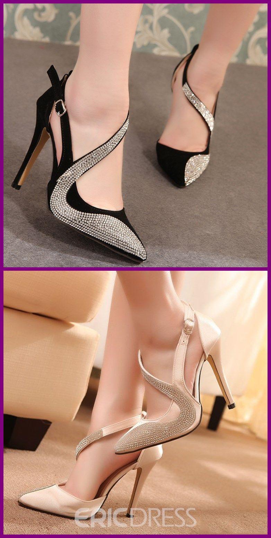 Fashion Womens Crystal Rhingstone compensés à bout pointu Bride Cheville Mariage Chaussures Sandales