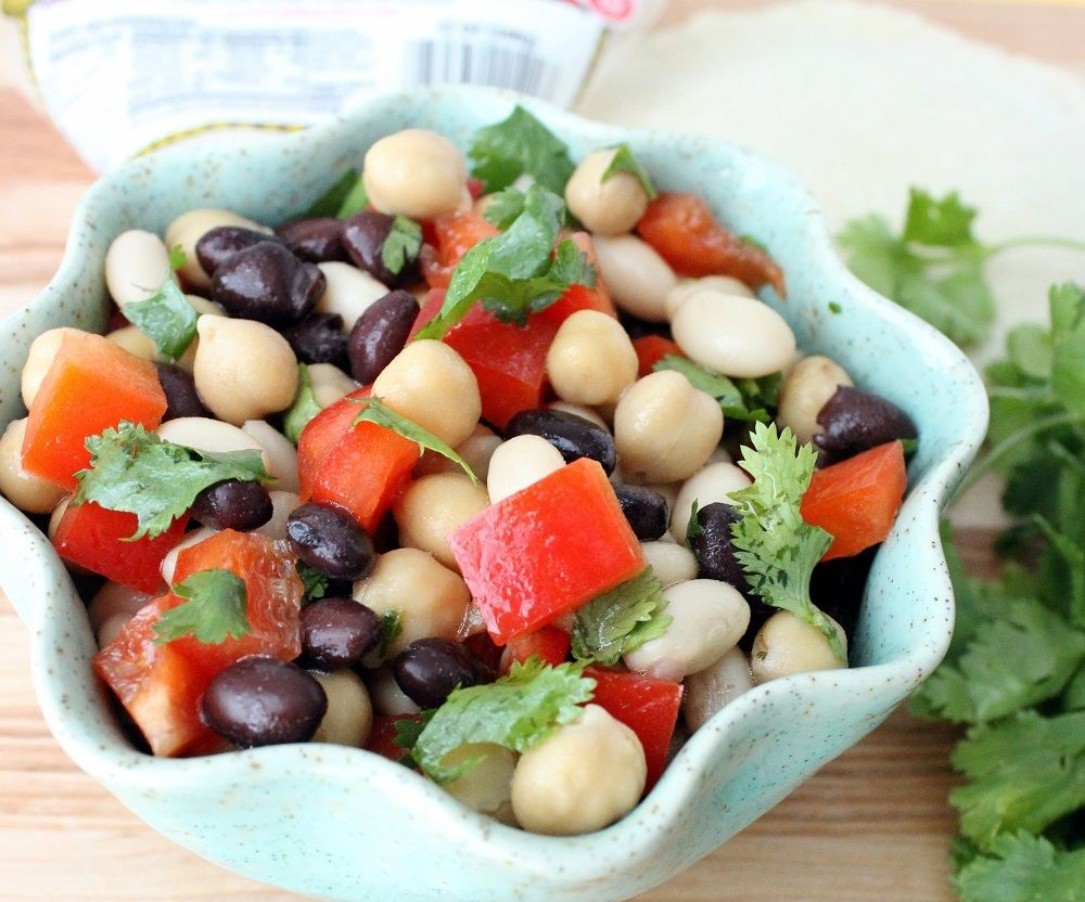 Mexican Multi Bean Salad Healthy And Tasty Three Bean Salad Bean Salad Vegan Dishes