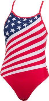 TYR Women's Durafast Lite 200 Crosscutfit American Flag Swimsuit, Navy/Red