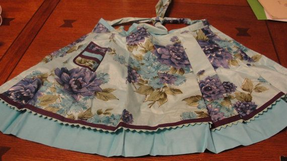 Vintage Polished Cotton Purple and Teal Flower by tracisallymaxx