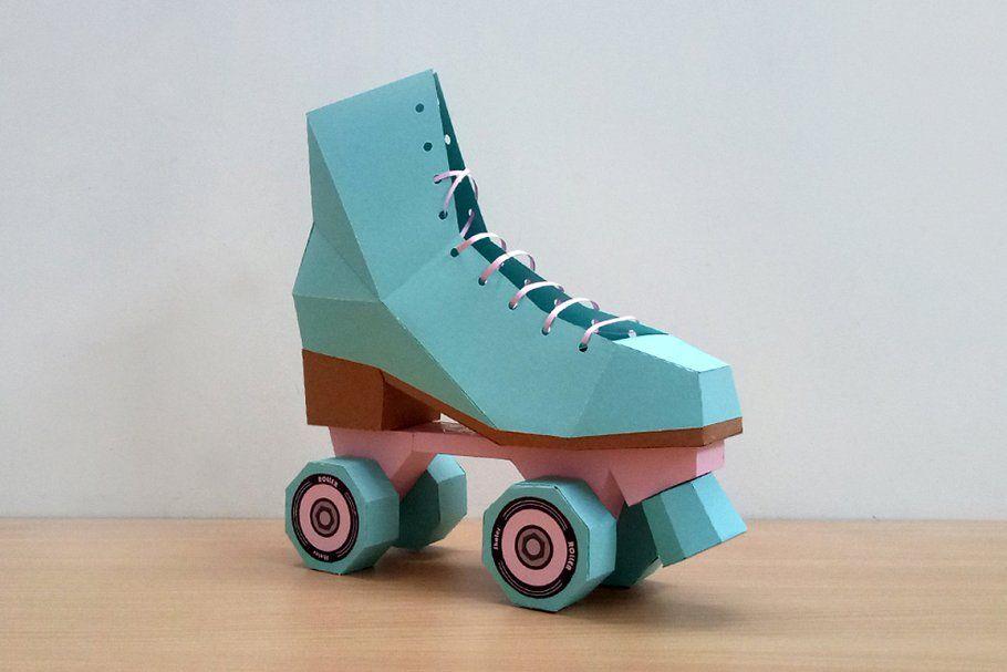 Diy Roller Skates 3d Papercraft Paper Crafts Roller Skate Shoes Roller Skates