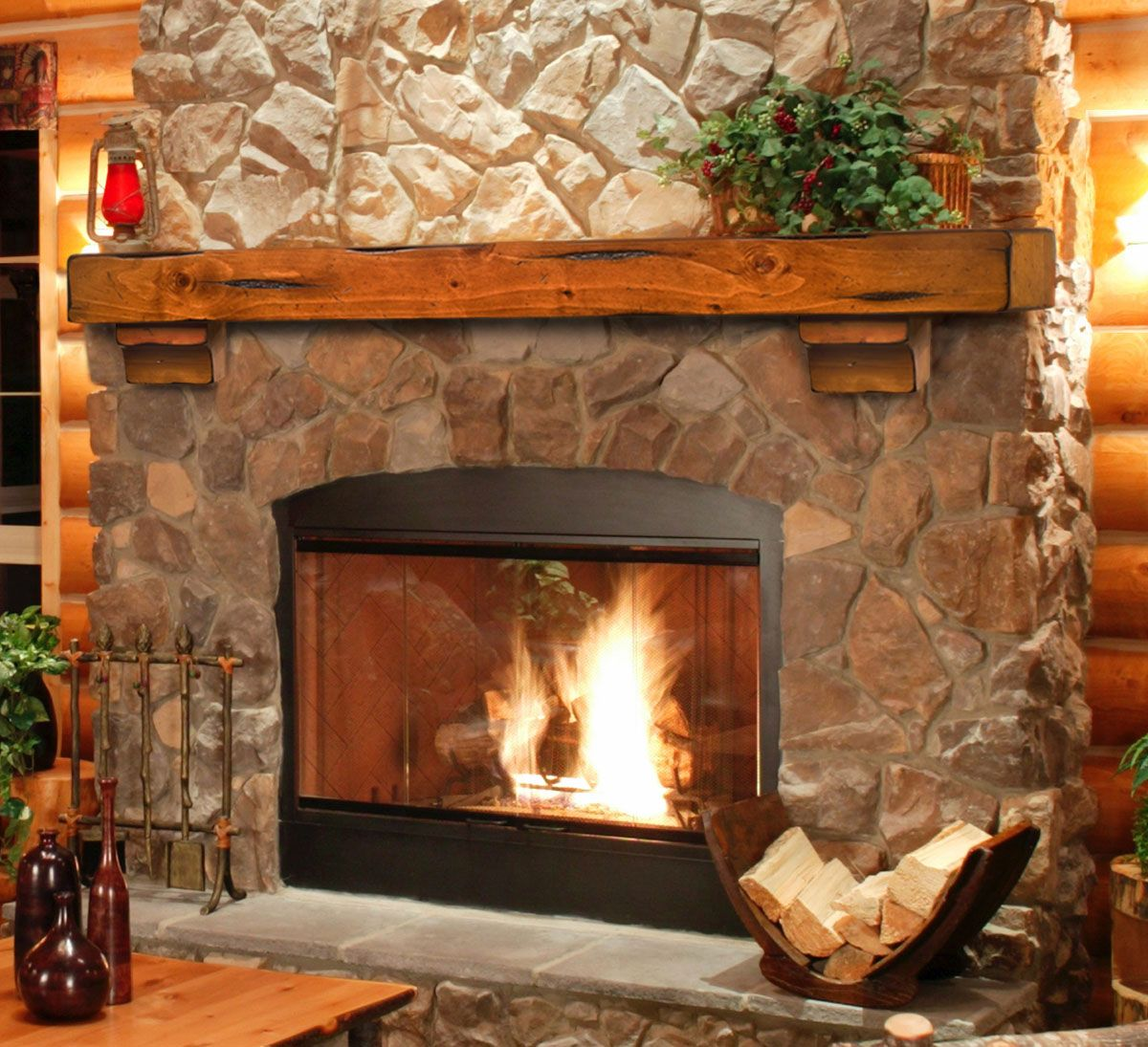 Simple Wood Mantel Enhances Stone Fireplace   Heat Up Your Fireplace With A  Stylish Mantel