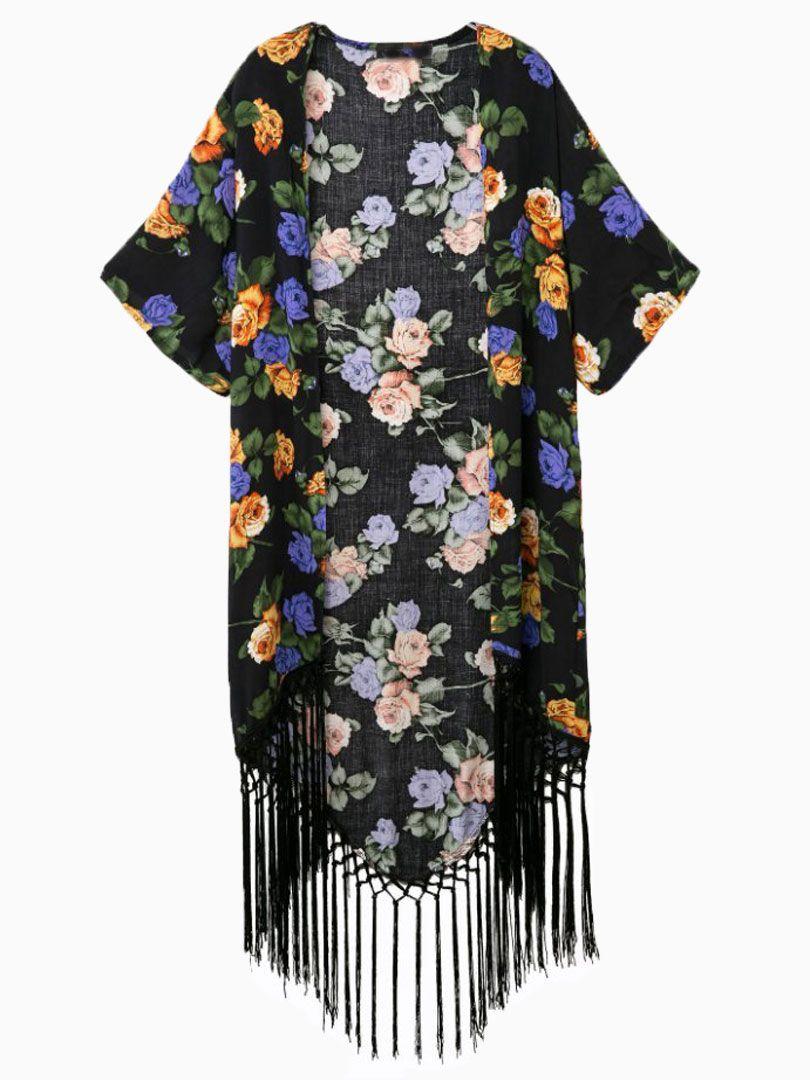 Black Floral Tassels Kimono Short Sleeves Coat   Choies ...