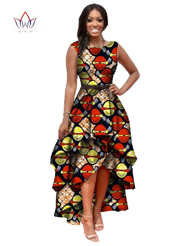 African print dresses for weddings  African Dashiki Ankara Dresses with Cascading Ruffle African Maxi
