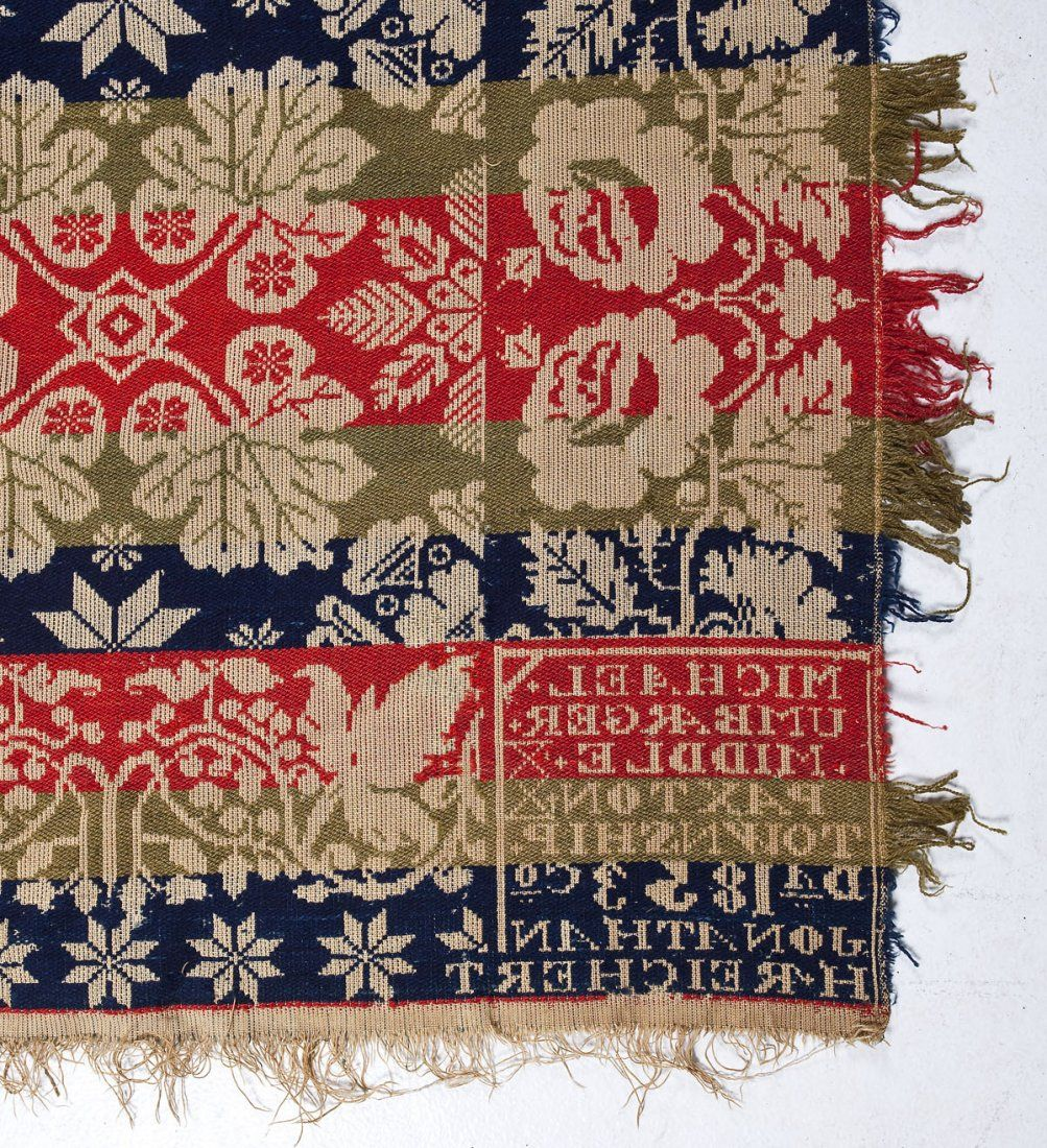 Description Michael Umbarger Jacquard Coverlet With Red Green And Blue Patterning Of Stars Leaves And Hearts Wit Coverlets Hearts And Roses Dauphin County