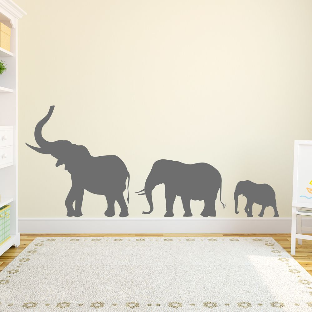 Bring The Zoo Into Your Home With This Marching Elephants Wall - Nursery wall decals elephant