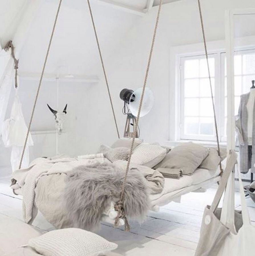 Hovering Bed Hung By Rope All White Bedroom Bedroom Design Bedroom Decor