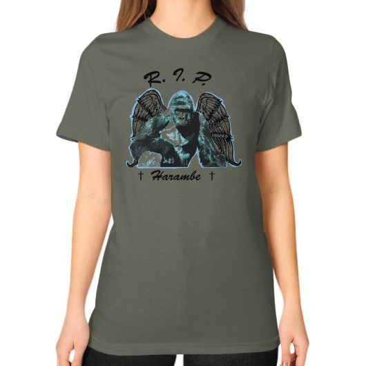 RIP Haramabe Unisex T-Shirt (on woman)