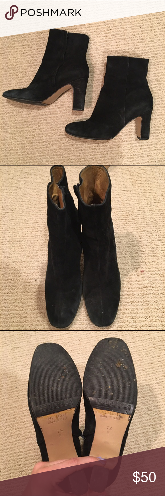 Vintage black suede ankle boots Souls had to be replaced J. Crew Shoes Ankle Boots & Booties