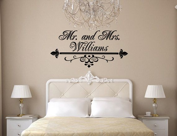 Mr And Mrs Wall Art Vinyl Black Decal With Flourish Last Name