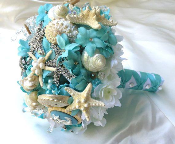 Tiffany Blue Wedding Bouquet Sea Shell Bridal Bouquet Brooch Bouquet