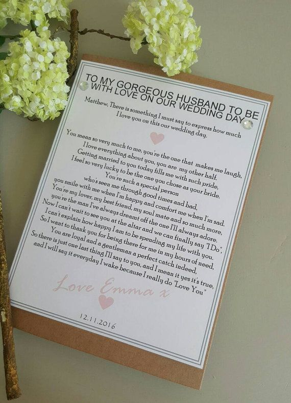 Love Note to Future Husband Wedding Day Letter To My Husband On Our Wedding Day Card Wedding Card to Your Groom Keepsake Love Note