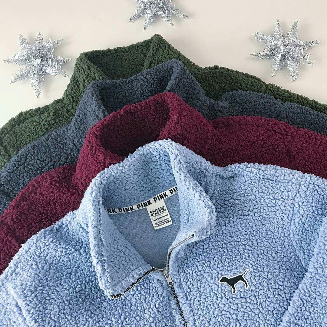 f3fd8f96fd9 VS Pink Sherpa Boyfriend Quarter Zip Pullover  pulloveroutfit ...