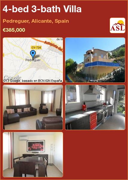 4-bed 3-bath Villa in Pedreguer, Alicante, Spain ►€385,000 #PropertyForSaleInSpain