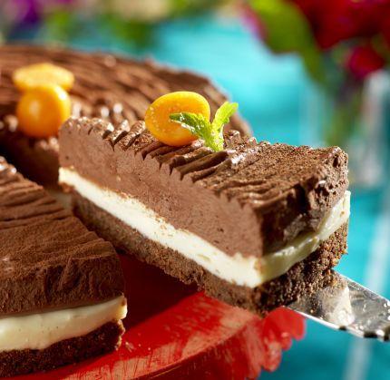 Chokladälskarens dröm!  Triss i choklad 12–14 bitar 100 g smör 15 digestivekex 1 msk kakao Fyllning 1 2 gelatinblad ¾dl vispgrädde 150 g hackad vit choklad 200 g färskost, t ex...