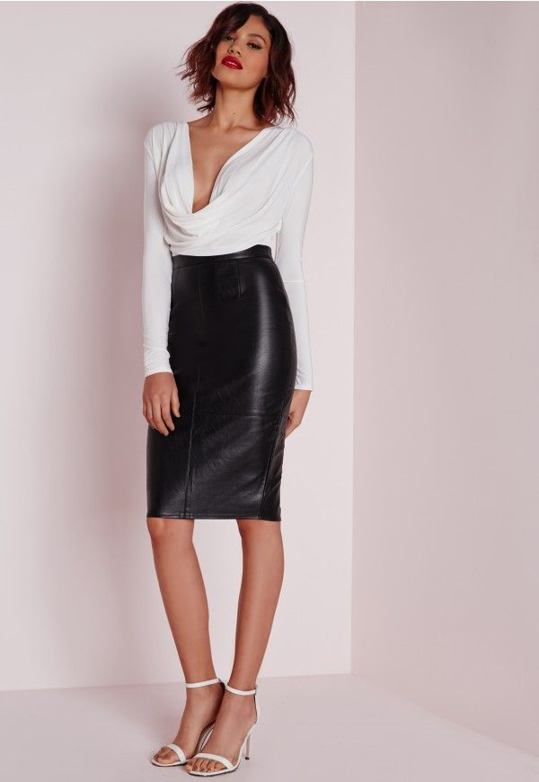 66515721190 Faux Leather Seam Detail Midi Skirt Black - Midi - Skirt - Missguided
